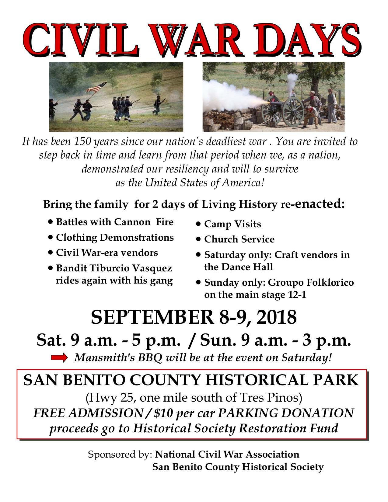 Civil War Days 2018 flyer